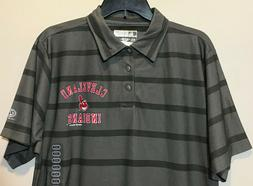 New Cleveland Indians Men's Polo Shirt Gray Stripes MLB Base
