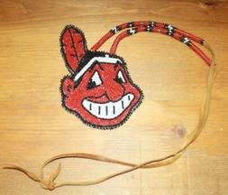 NEW NATIVE AMERICAN BEADED CLEVELAND INDIANS PENDANT & NECKL