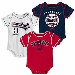 Newborn & Infant Navy/Red/White Cleveland Indians 3-Pack Bod