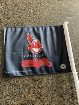 NOS Cleveland Indians Logo 2-sided Car Flag w/Pole Banner Ba