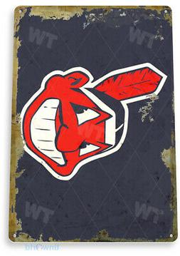 TIN SIGN Cleveland Indians Retro Metal Décor Fenway Wall St