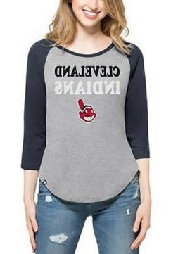 Women's Cleveland Indians Club Block Raglan Tee Shirt MLB Ba
