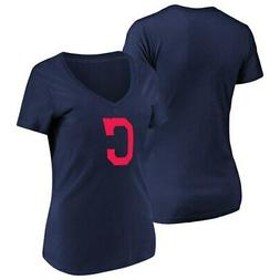 Women's Majestic Navy Cleveland Indians Top Ranking V-Neck T